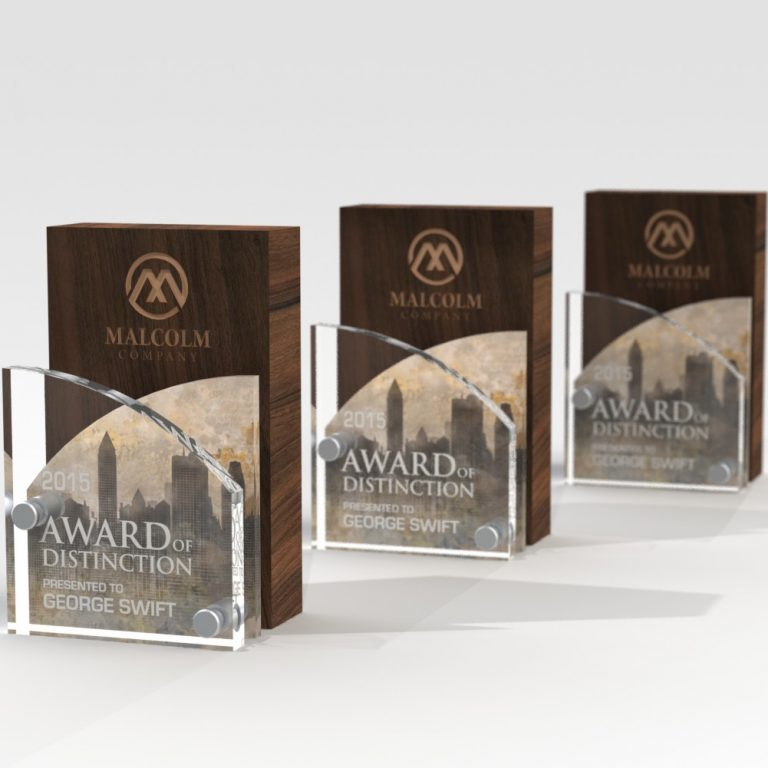 Wood and crystal award for employee performance