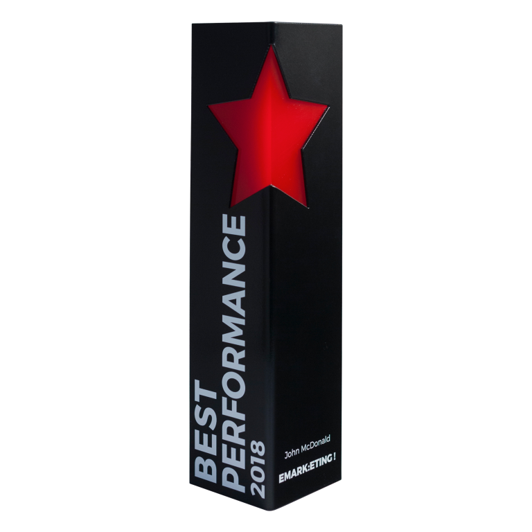 Performance award with star cutout
