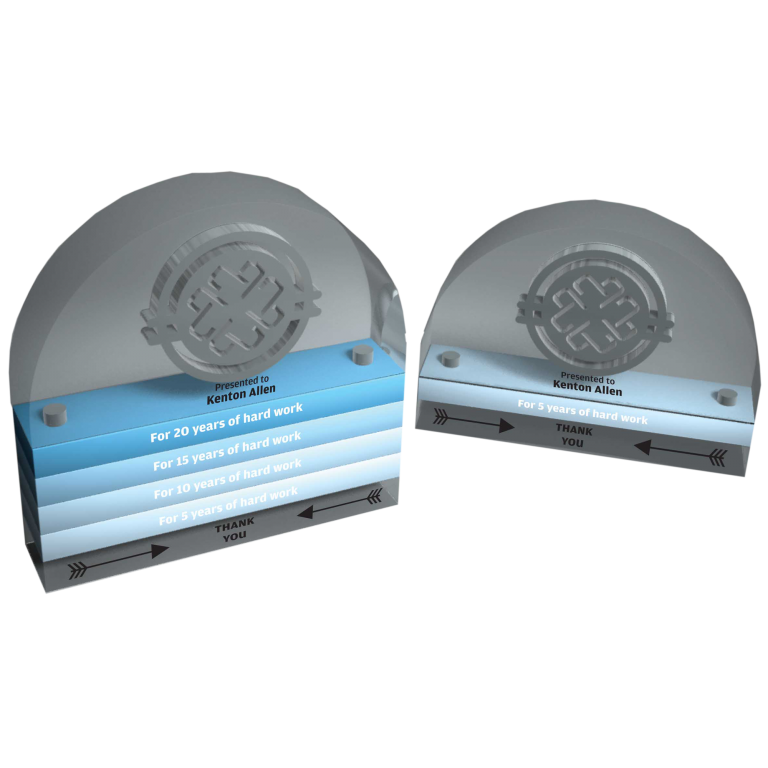 stackable years of service award blue acrylic