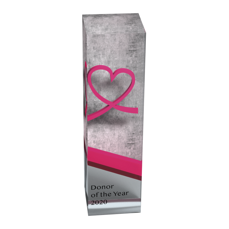 lucite award for charity with pink heart